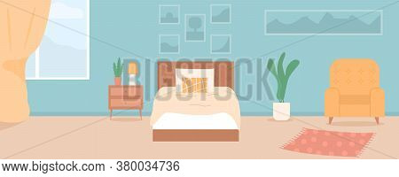 Vector Cartoon Illustration Of Cozy Modern Bedroom, Living Room With Double Bed, Plants, Pictures, A