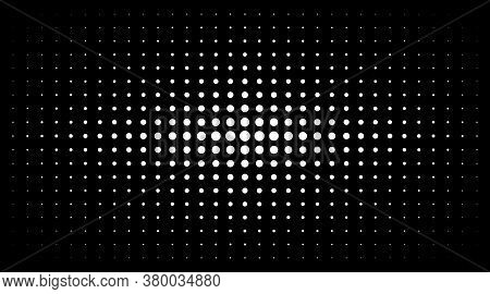 Halftone White Gradient Texture Isolated On Black Background. Comic Dotted Pattern Using Halftone Ci
