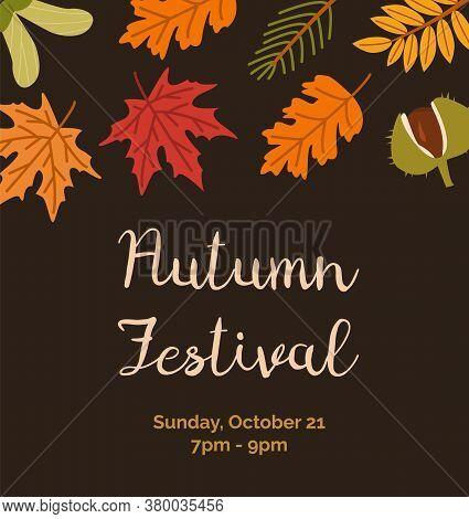 Autumn Festival Invitation Poster Flat Vector Templates. Botanical Banner Layouts. Leaves, Chestnut
