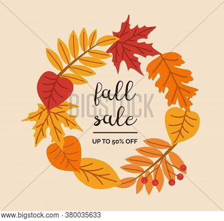 Fall Sale Calligraphic Vector Lettering. Autumn Holiday Isolated Phrase. Dried Forest Leaves And Ber