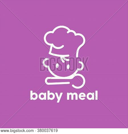 Baby Meal Logo Minimalist And Simple For Kids Meal Eat Organic Food Vector Design Template Concept.