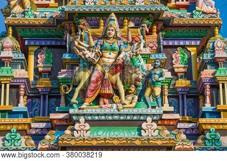 Trincomalee, Sri Lanka - February 09, 2020: Sculpture Of The Many-armed God Shiva In The Design Of T