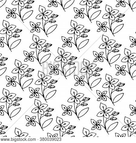 Jasmin Plant Sketch Seamless Pattern. Hand Drawn Ink Art Design Object Isolated Stock Vector Illustr