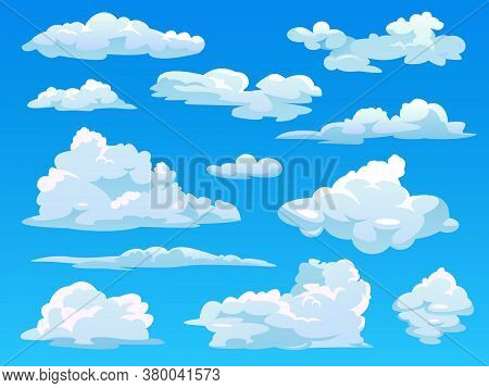Clouds In Sky, Cloudy Cartoon Vector Set, Fluffy And Stormy White Clouds Background. Isolated Flat C