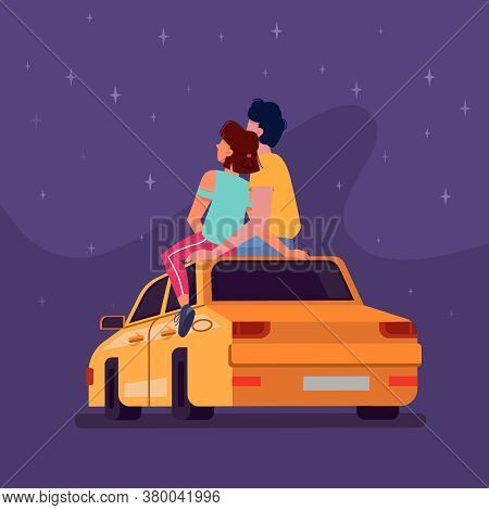 Couple Sitting On Car Roof At Night Looking At Stars In Sky, Vector Flat Cartoon Background. Young M