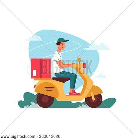 Delivery Courier On Scooter Moped With Parcel, Delivering Express Order, Vector Flat Cartoon Isolate