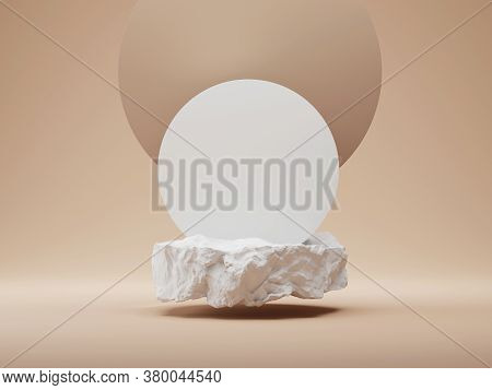 3d White Stone Podium Display. Nude, Round Beige Background. Cosmetics, Beauty Product Promotion Moc
