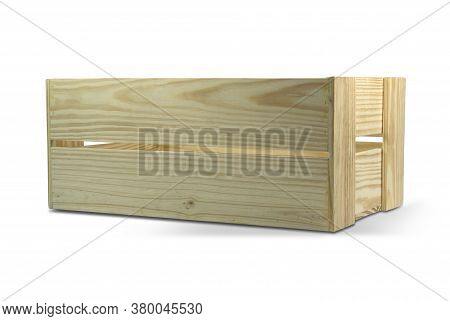 A Wooden Crate Isolated On White Background With Clipping Path.