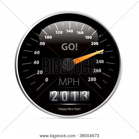 speedometer with 2013 counter in vector