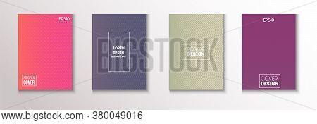 Wavy Minimal Cover Vector Set. Modern Flyer Paper Design. 80s Neon Music Poster. Textured Gradient O