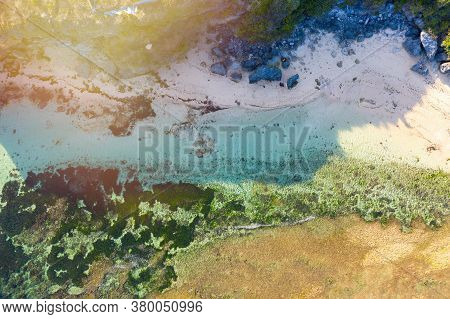 Tropical Sea Coral Reef Coastline. Beautiful Shades Of Green, Blue And Brown.