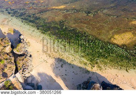 Tropical Sea Coral Reef Coastline With Green Seaweeds Rocks At Sunset. Bali
