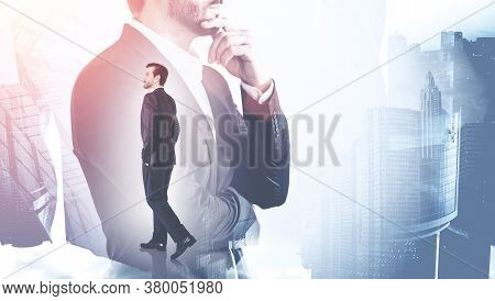 Young Businessman Walking In Blurry Abstract City With Double Exposure Of Thoughtful Businessman. To