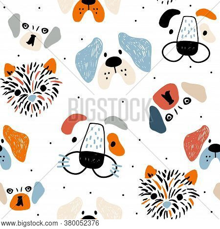 Seamless Pattern With Cute Dog Faces, And Hand Drawn Elements. Creative Childish Texture In Scandina