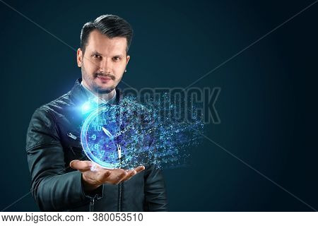 Time Management Concept, Businessman And Clock Dissolve Into Thin Air. Time Is Fleeting, Dead Line,