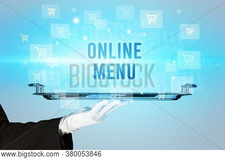 Waiter serving ONLINE MENU inscription, online shopping concept