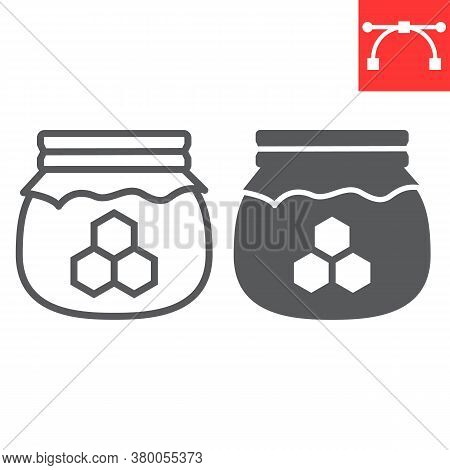 Honey Jar Line And Glyph Icon, Rosh Hashanah And Hive, Honey Sign Vector Graphics, Editable Stroke L