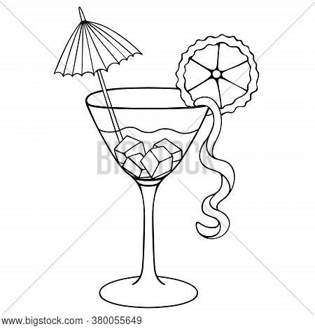 Martini. Sketch. Refreshing Cocktail With Ice Cubes. Vector Illustration. Outline On An Isolated Whi