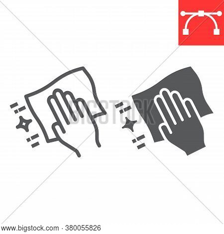 Hand With Cleaning Napkin Line And Glyph Icon, Hygiene And Disinfection, Wipe Surface Sign Vector Gr
