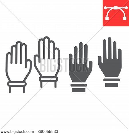 Safety Gloves Line And Glyph Icon, Hygiene And Protection, Rubber Gloves Sign Vector Graphics, Edita