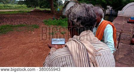 District Katni, Madhya Pradesh, India - 20 August 2019: Amazon Dot In Logo Presented On Digital Scre