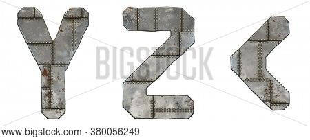Set of capital letters Y, Z and symbol left angle bracket made of industrial metal isolated on white background. 3d rendering