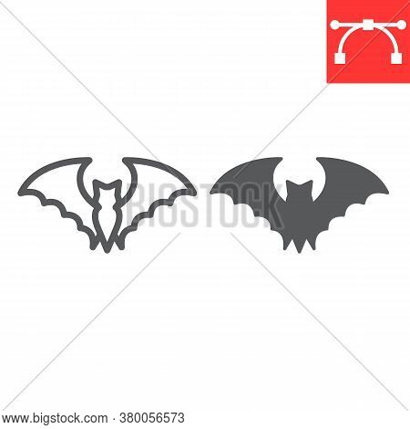 Bat Line And Glyph Icon, Halloween And Scary, Bat Sign Vector Graphics, Editable Stroke Linear Icon,