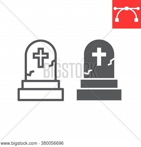 Gravestone Line And Glyph Icon, Halloween And Scary, Tombstone Sign Vector Graphics, Editable Stroke