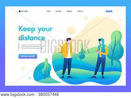 Young People Maintain A Social Distance During The Epidemic. Flat 2d Character. Landing Page Concept