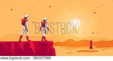 Astronauts Explorers Walking On Mars Surface Ground Mountain Landscape With Space Starship Rocket Ve