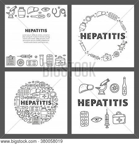Set Of Cards With Lettering And Doodle Outline Hepatitis Medical Icons Including Liver, Microscope,