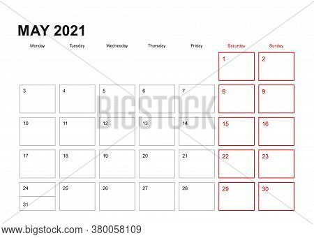 Wall Planner For May 2021 In English Language, Week Starts In Monday. Vector Calendar 2021.