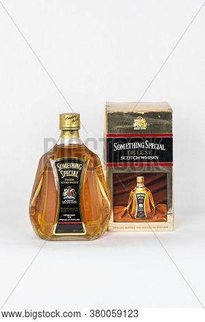 Palma, Mallorca, Spain - April 11 2019: Something Special De Luxe Scotch Whisky Bottle With The Orig