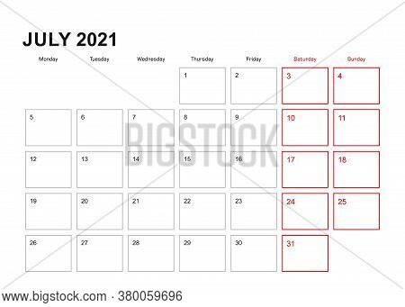 Wall Planner For July 2021 In English Language, Week Starts In Monday. Vector Calendar 2021.
