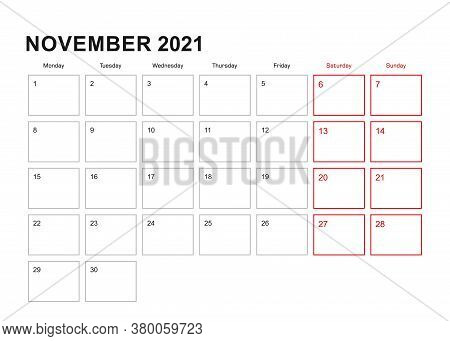 Wall Planner For November 2021 In English Language, Week Starts In Monday. Vector Calendar 2021.