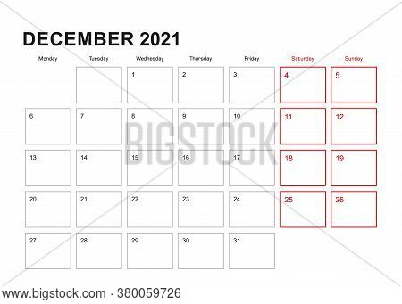 Wall Planner For December 2021 In English Language, Week Starts In Monday. Vector Calendar 2021.