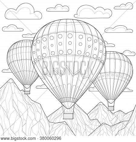 Balloons Soar Among The Clouds And Mountains.coloring Book Antistress For Children And Adults. Zen-t