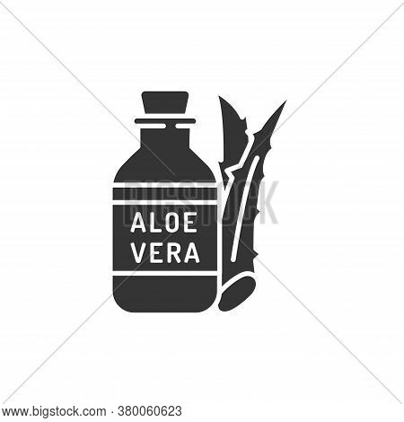 Aloe Oil Black Glyph Icon. Oil Made From Aloe. Viscous Liquid. Moisturizes And Nourishes The Skin. S