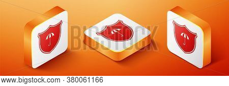 Isometric Waterproof Icon Isolated On Orange Background. Shield And Umbrella. Water Protection Sign.