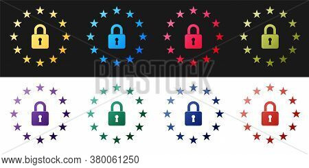 Set Gdpr - General Data Protection Regulation Icon Isolated On Black And White Background. European