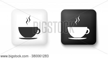Black And White Coffee Cup Icon Isolated On White Background. Tea Cup. Hot Drink Coffee. Square Butt