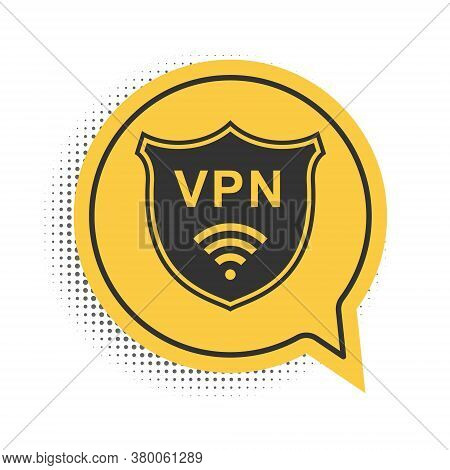 Black Shield With Vpn And Wifi Wireless Internet Network Icon Isolated On White Background. Vpn Prot