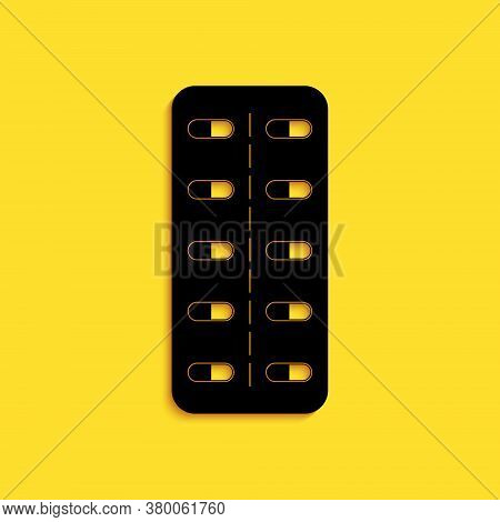 Black Pills In Blister Pack Icon Isolated On Yellow Background. Medical Drug Package For Tablet: Vit