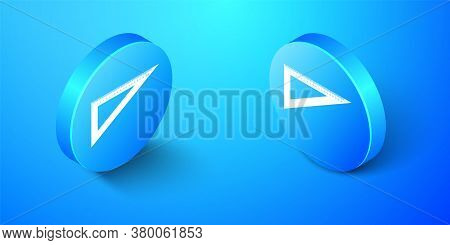 Isometric Triangular Ruler Icon Isolated On Blue Background. Straightedge Symbol. Geometric Symbol.