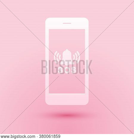 Paper Cut Sos Call Icon Isolated On Pink Background. 911, Emergency, Help, Warning, Alarm. Paper Art