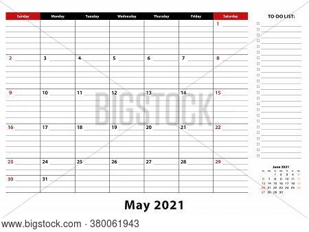 May 2021 Monthly Desk Pad Calendar Week Starts From Sunday, Size A3. May 2021 Calendar Planner With