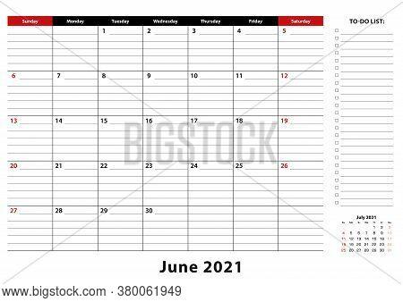 June 2021 Monthly Desk Pad Calendar Week Starts From Sunday, Size A3. June 2021 Calendar Planner Wit