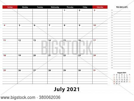 July 2021 Monthly Desk Pad Calendar Week Starts From Sunday, Size A3. July 2021 Calendar Planner Wit