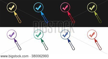 Set Magnifying Glass And Check Mark Icon Isolated On Black And White Background. Magnifying Glass An