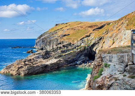 Tintangel, North Cornwall, England - July 24,2018: View Of Headland Barras Nose From The Ruins Of Ti